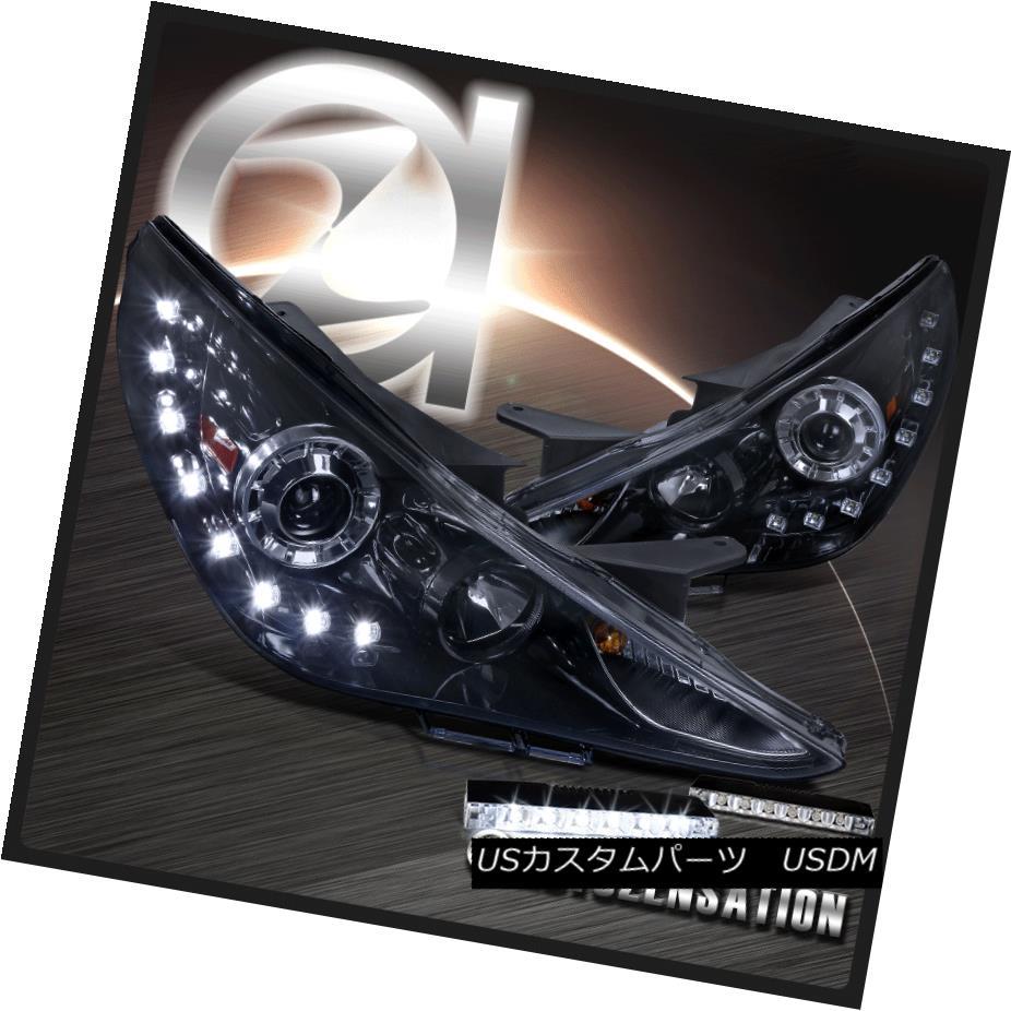 ヘッドライト For 11-14 Sonata Glossy Black Projector Headlights+LED Fog Bumper DRL Lamp 11-14ソナタ光沢ブラックプロジェクターヘッドライト+ LEDフォグバンパーDRLランプ