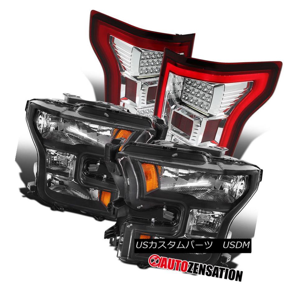 ヘッドライト Ford 15-17 F150 Truck Black Headlights+LED Clear/Red Tail Lamps Replacement Pair フォード15-17 F150トラックブラックヘッドライト+ LEDクリア/レッドテールランプ交換ペア