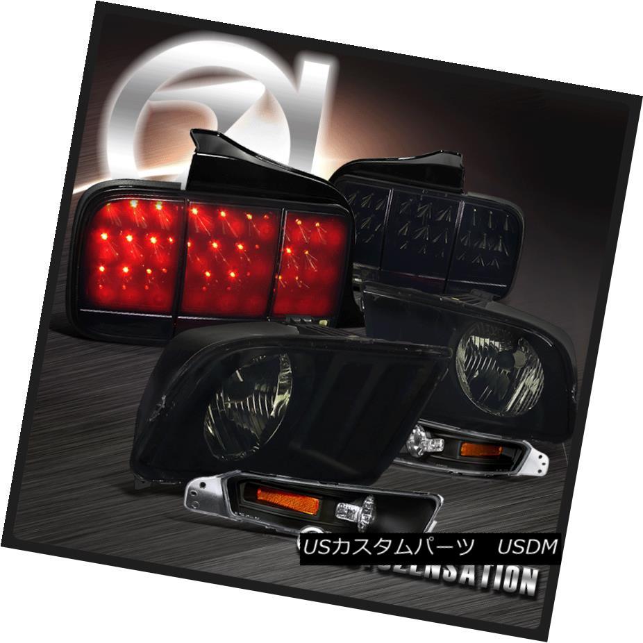 ヘッドライト 2005-2009 Ford Mustang Smoke Headlights+Black Bumper Lamps+Tinted Tail Lights 2005-2009 Ford Mustangスモークヘッドライト+ Bla  ckバンパーランプ+テールテールライト