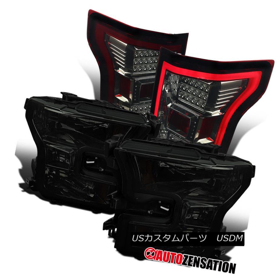 ヘッドライト Ford 15-17 F150 Truck Smoke Headlights+Smoke/Red LED Tail Lamps Replacement Pair フォード15-17 F150トラックスモークヘッドライト+スモール ke /レッドLEDテールランプ交換ペア