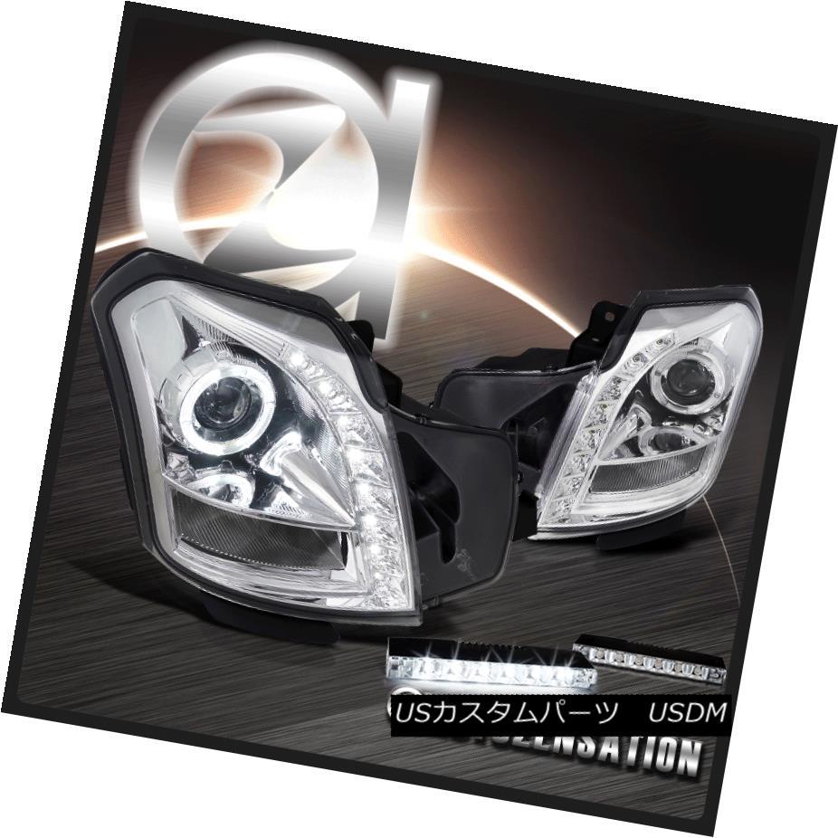ヘッドライト 03-07 Cadillac CTS Chrome Halo SMD Projector Headlight 6-LED Fog Lamp DRL 03-07キャデラックCTSクロームハローSMDプロジェクターヘッドライト 6-LE Dフォグ