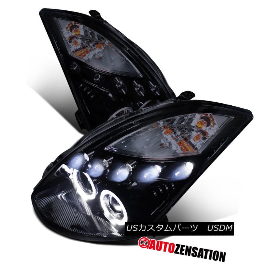 ヘッドライト Fit 03-07 Infiniti G35 2Dr Coupe Glossy Black Halo LED DRL Projector Headlights フィット03-07インフィニティG35 2Drクーペ光沢ブラックハローLED DRLプロジェクターヘッドライト