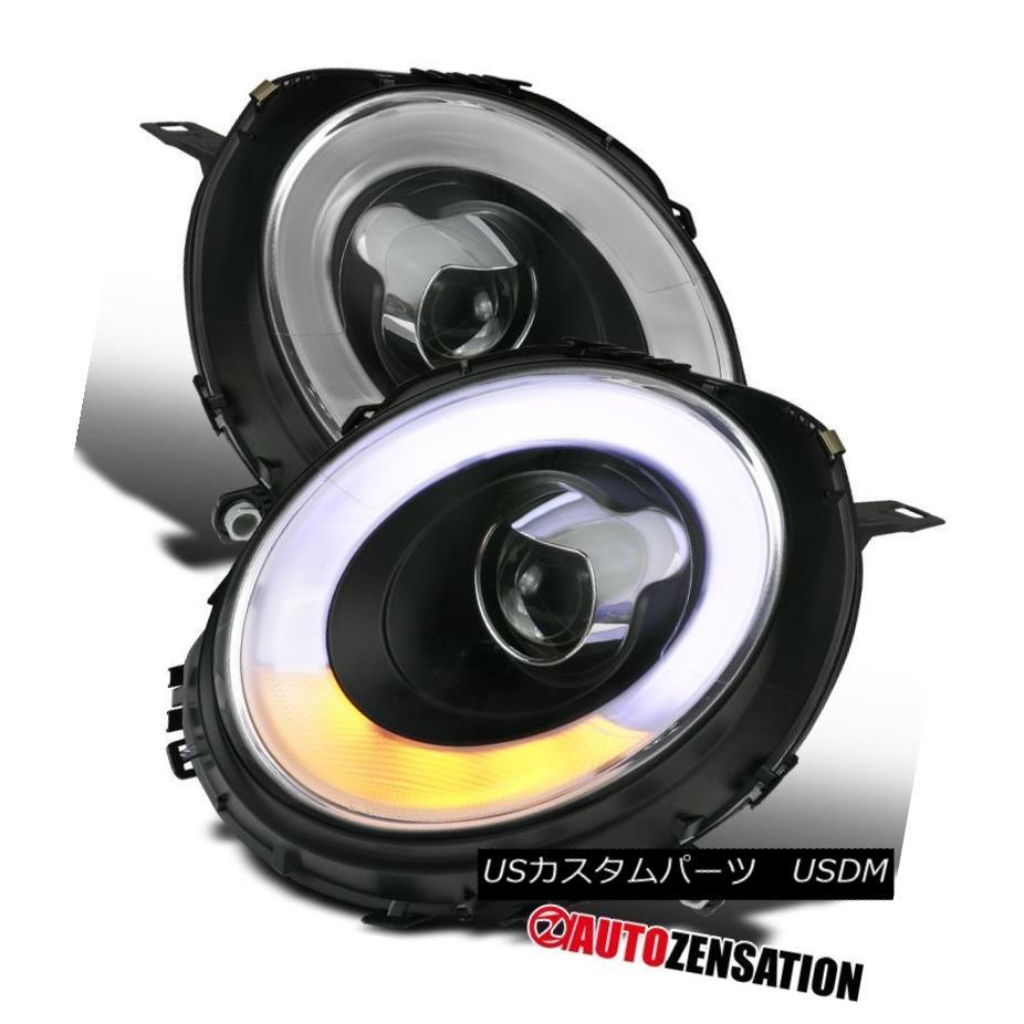 ヘッドライト 07-12 Mini Cooper LED DRL Halo Rims Turn Signal Black Projector Headlights 07-12ミニクーパーLED DRL Halo Rimsターンシグナルブラックプロジェクターヘッドライト