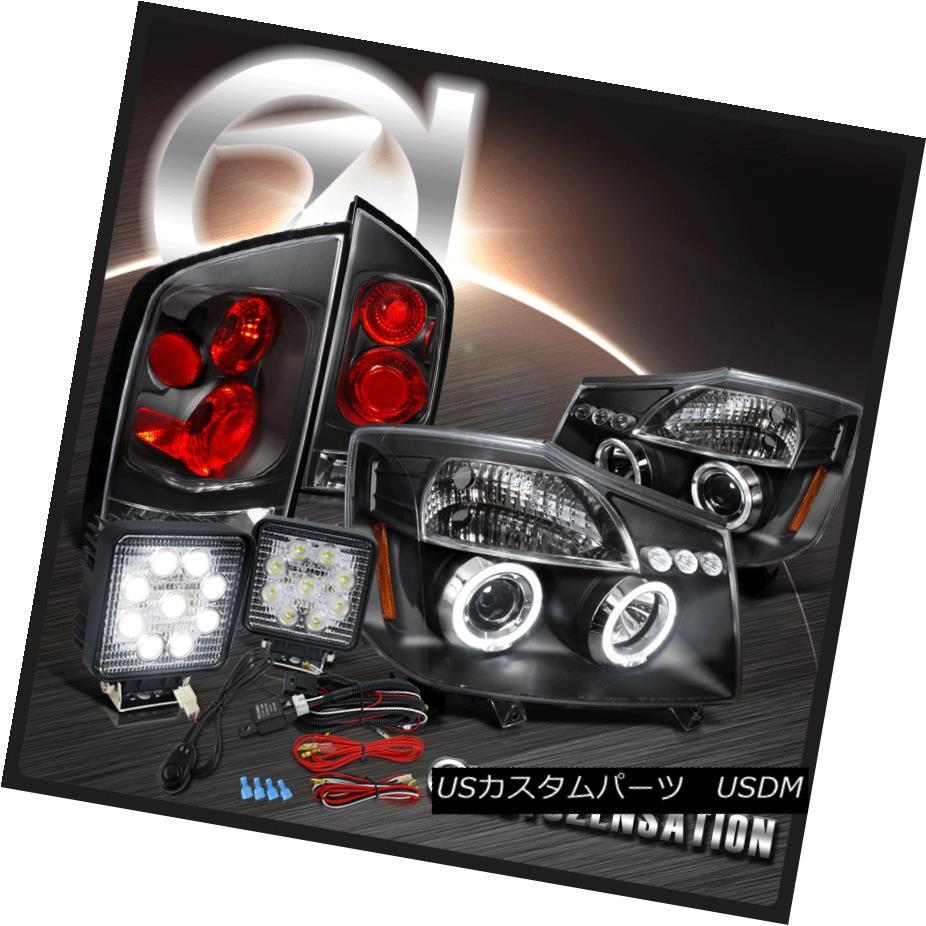 ヘッドライト Fit 05-07 Armada Black Halo Projector Headlights+Tail Lamps+9-Led Work Light Kit フィット05-07アルマダブラックハロープロジェクターヘッドライト+タイ lランプ+ 9-Ledワークライトキット