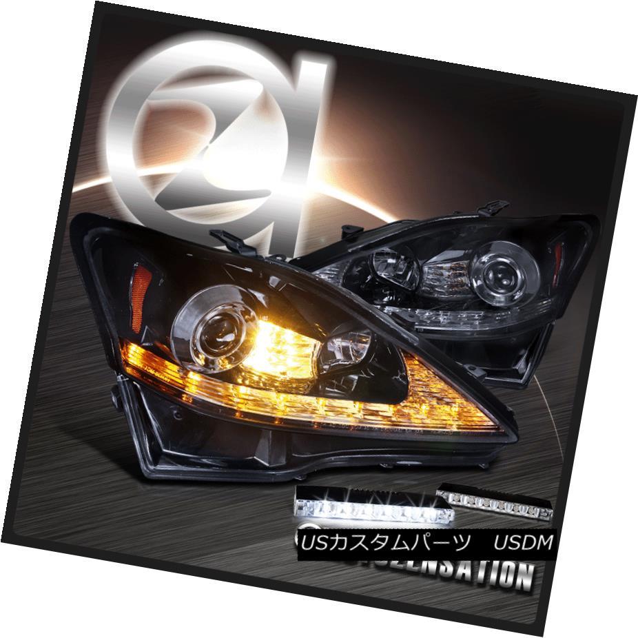 ヘッドライト 06-09 IS250 IS350 Glossy Black DRL+Signal Projector Headlights+Fog Bumper Lamp 06-09 IS250 IS350光沢ブラックDRL +シグナルプロジェクターヘッドライト+フォグバンパーランプ