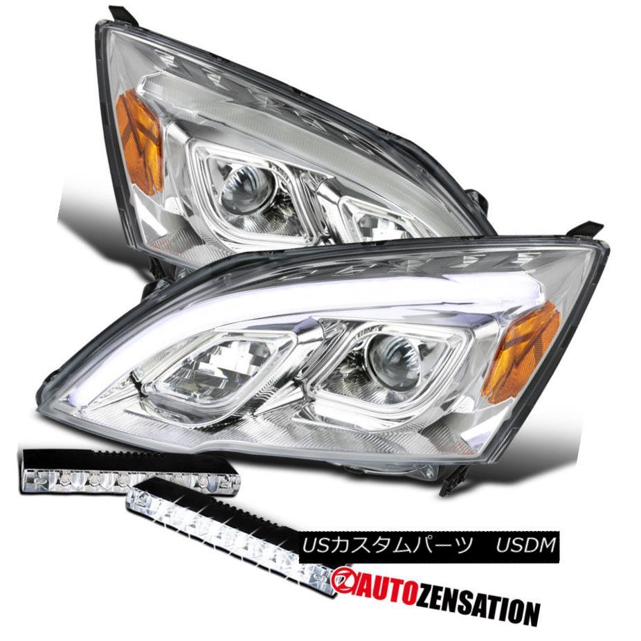ヘッドライト For 07-11 Honda CR-V CRV Clear LED DRL Projector Headlights+6-LED Fog Lamps Pair 07-11ホンダCR-V CRVクリアLED DRLプロジェクターヘッドライト+ 6-L  EDフォグランプペア
