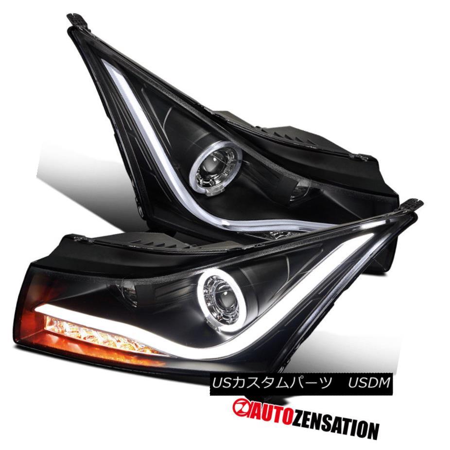 ヘッドライト 11-14 Chevy Cruze Black LED DRL Halo Projector Headlights & Signal 11-14シェビークルーズブラックLED DRLハロープロジェクターヘッドライト& 信号