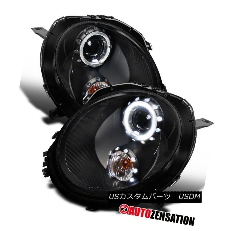 ヘッドライト 07-12 Mini Cooper Crystal Black Halo Projector Headlights Pair 07-12ミニクーパークリスタルブラックハロープロジェクターヘッドライトペア