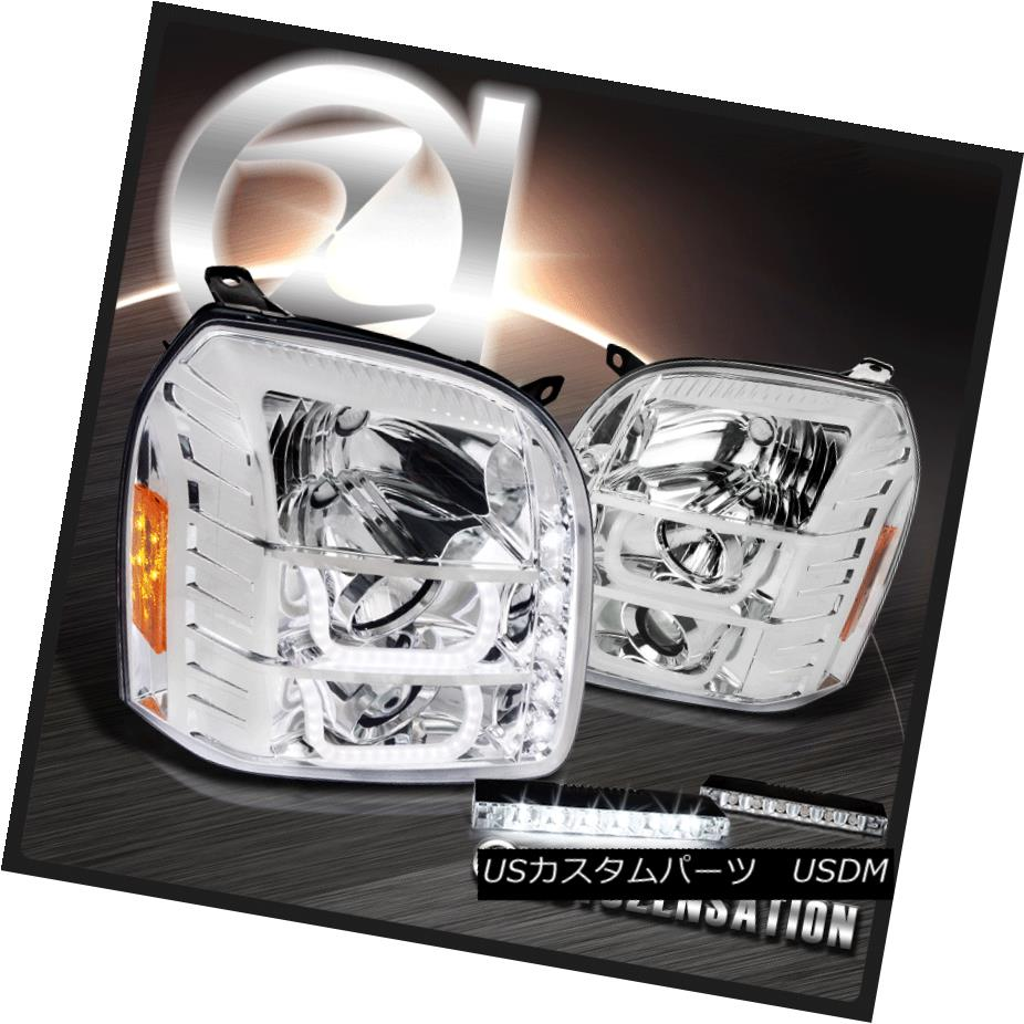 ヘッドライト 07-14 GMC Yukon XL Denali Chrome Halo Projector Headlights+6-LED DRL Fog Lamps 07-14 GMC Yukon XLデナリクロームハロープロジェクターヘッドライト+ 6-L  ED DRLフォグランプ