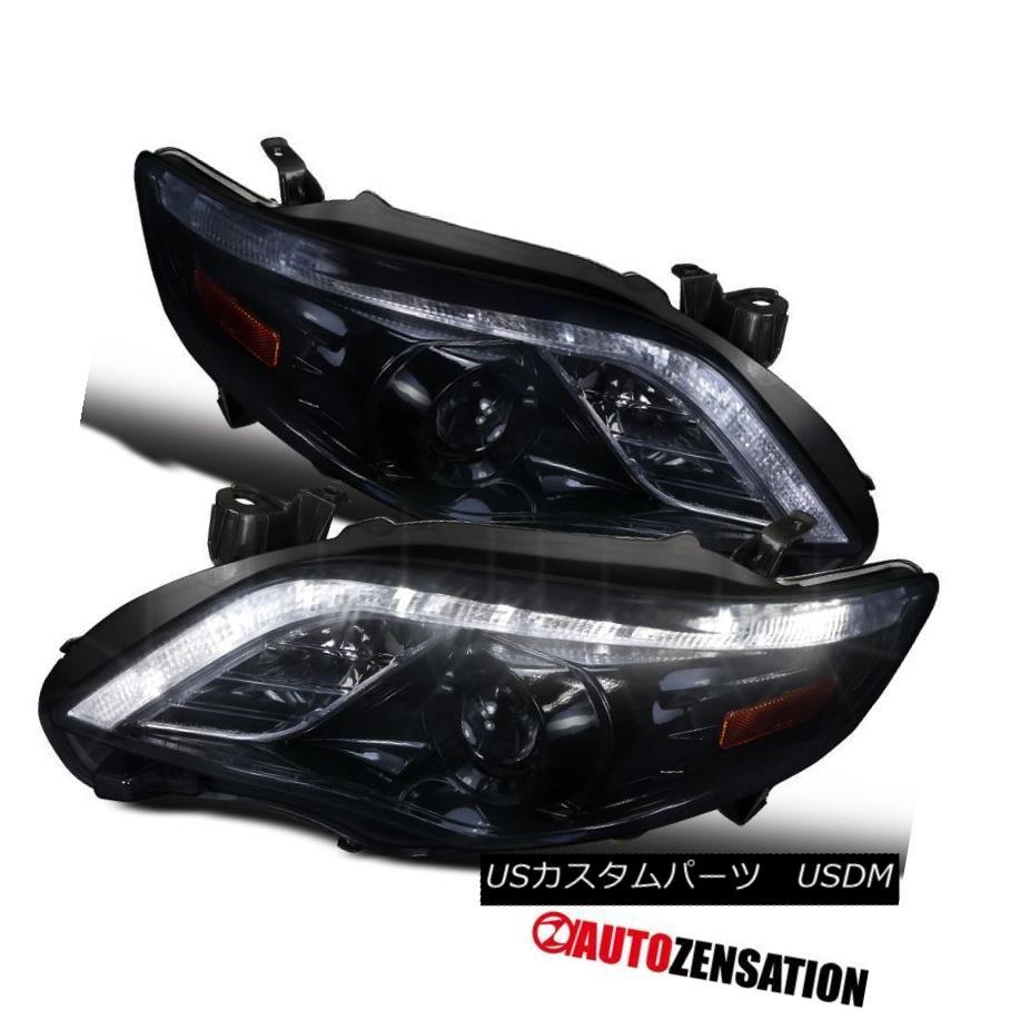 ヘッドライト For 2011-2013 Toyota Corolla Glossy Black DRL Daytime LED Projector Headlights トヨタカローラ光沢ブラックDRLデイタイムLEDプロジェクターヘッドライト
