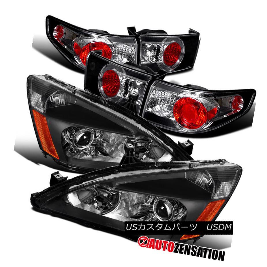 ヘッドライト For 03-05 4Dr Accord Black Projector Headlights+Tail Brake Replacement Lamp Pair 03-05 4Drアコードブラックプロジェクターヘッドライト+タイ lブレーキ交換ランプペア