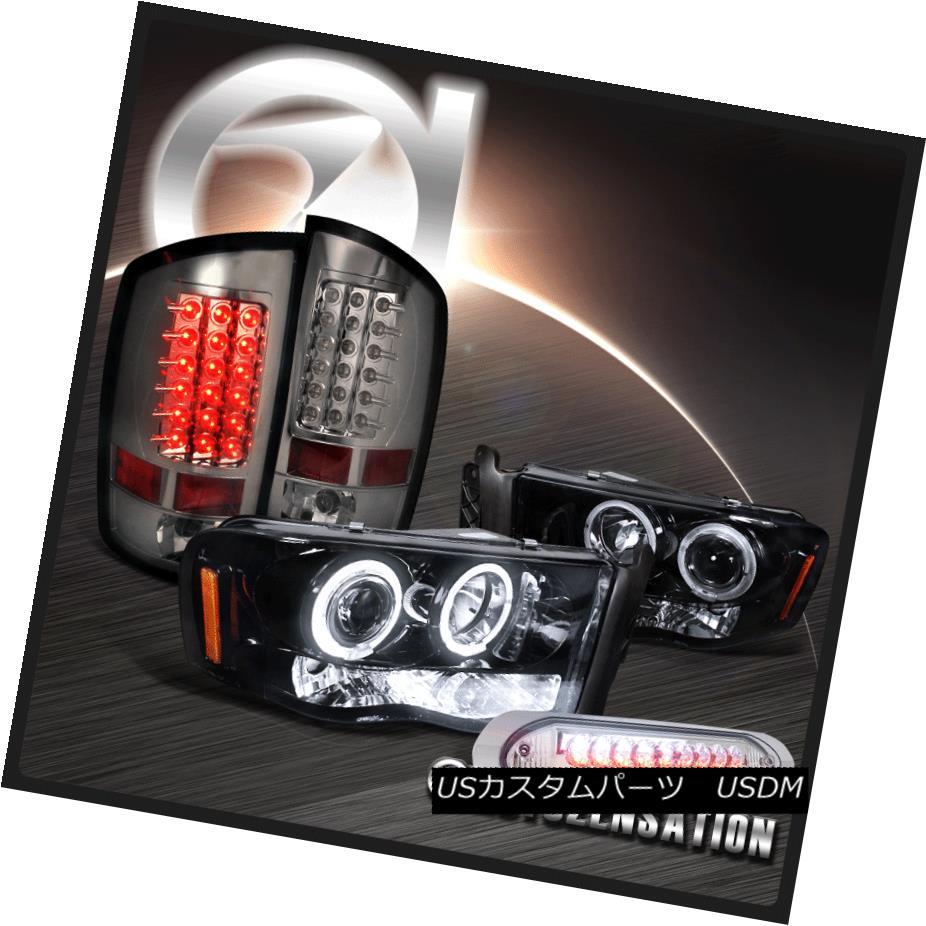 ヘッドライト Glossy Black 03-05 Ram Halo Projector Headlights+LED Tail Lamps+3RD Brake Light 光沢ブラック03-05ラムハロープロジェクターヘッドライト+ LEDテールランプ+ 3RDブレーキライト