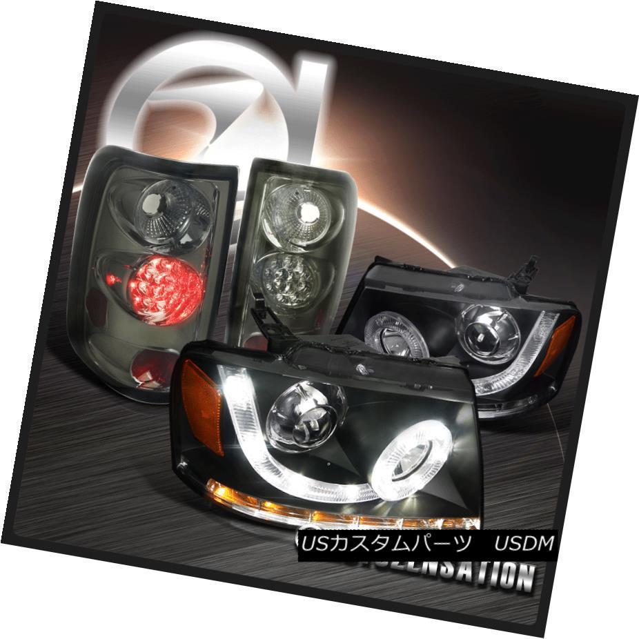 ヘッドライト 04-08 F150 Halo SMD LED DRL Black Projector Headlights+Smoke LED Tail Lamps 04-08 F150 Halo SMD LED DRL黒プロジェクターヘッドライト+スモール ke LEDテールランプ
