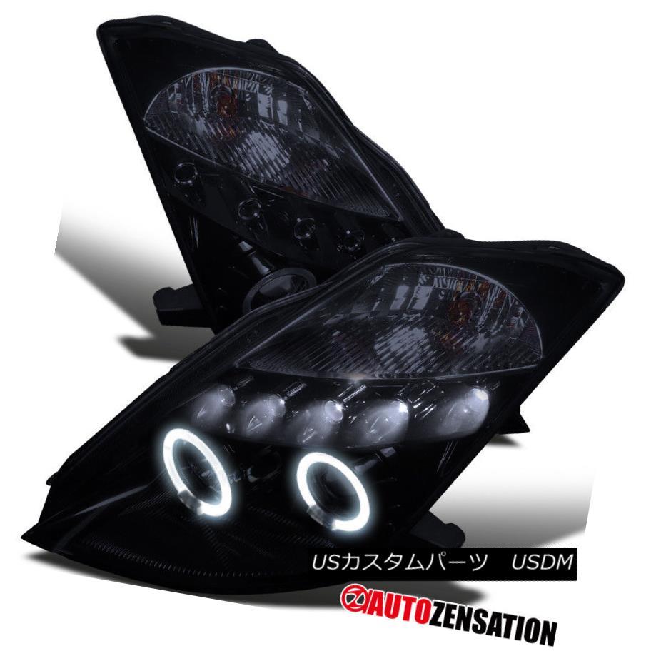 ヘッドライト For 03-05 350Z Z33 [Glossy Black] LED DRL Halo Projector Headlights 03-05 350Z Z33用[光沢ブラック] LED DRLハロープロジェクターヘッドライト