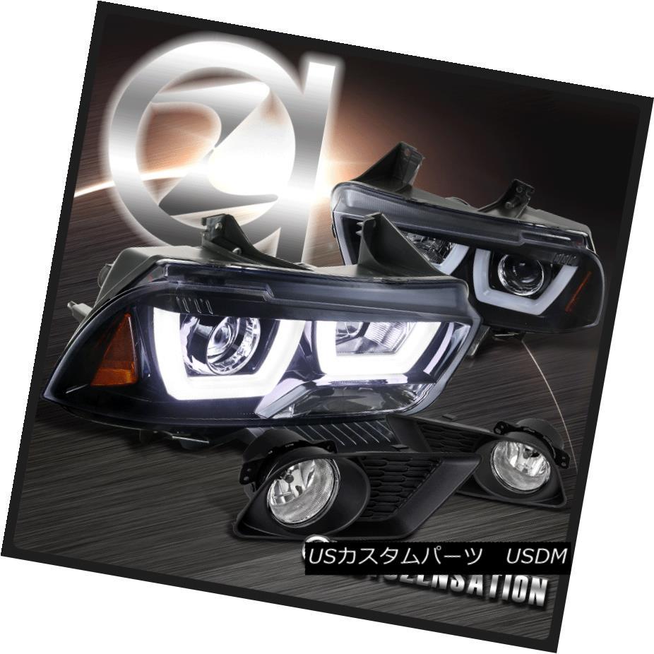 ヘッドライト 11-14 Dodge Charger Glossy Black Dual Halo Projector Headlights+Front Fog Lights 11-14ダッジチャージャー光沢ブラックデュアルハロープロジェクターヘッドライト+  ntフォグライト用