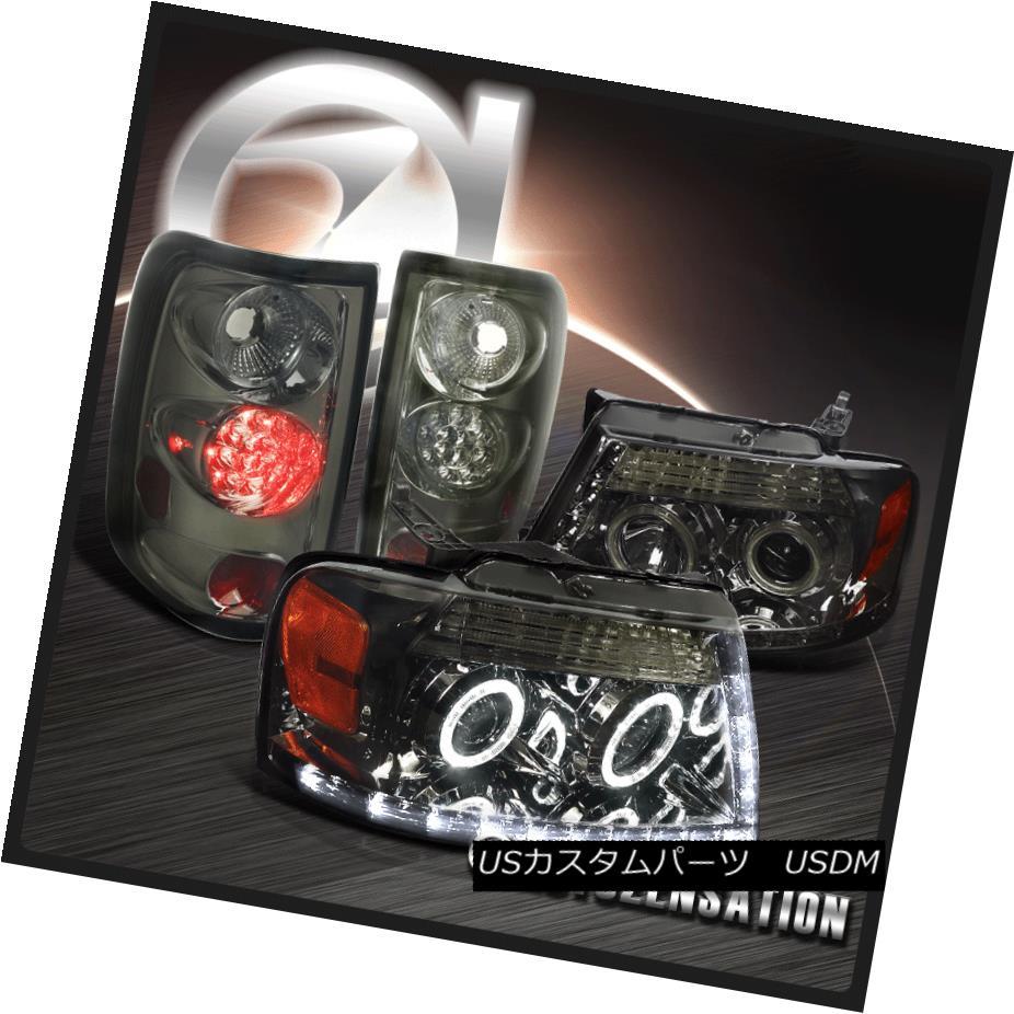 ヘッドライト 2004-2008 F150 Stlyeside Dual Halo LED Smoke Projector Headlights+LED Tail Lamps 2004-2008 F150 Stylesideデュアル・ハローLED煙プロジェクター・ヘッドライト+ LEDテールランプ
