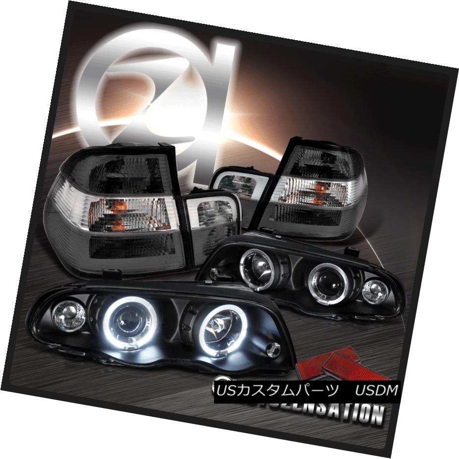 ヘッドライト 99-01 BMW E46 3-Series 4DR Black Dual Halo Projector Headlights+Smoke Tail Lamps 99-01 BMW E46 3シリーズ4DRブラックデュアルハロープロジェクターヘッドライト+スモーキー keテールランプ