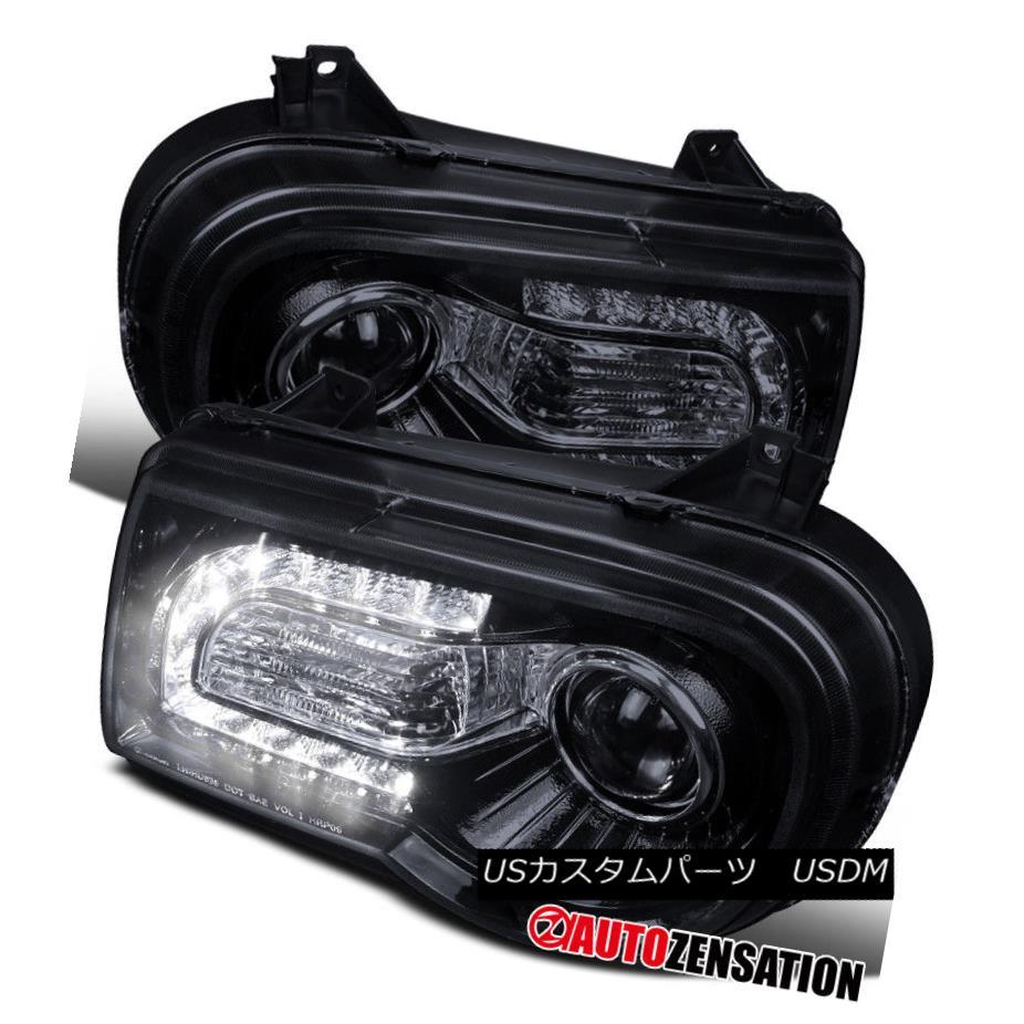 ヘッドライト 05-10 Chrysler 300C Glossy Black/ Smoke LED DRL Projector Headlights 05-10クライスラー300C光沢ブラック/煙LED DRLプロジェクターヘッドライト