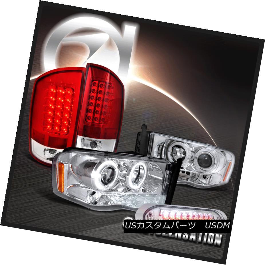 ヘッドライト 02-05 Ram 1500 2500 3500 Chrome Projector Headlight+Red LED Tail+3RD Brake Lamp 02-05 Ram 1500 2500 3500クロームプロジェクターヘッドライト+レッドLEDテール+ 3RDブレーキランプ