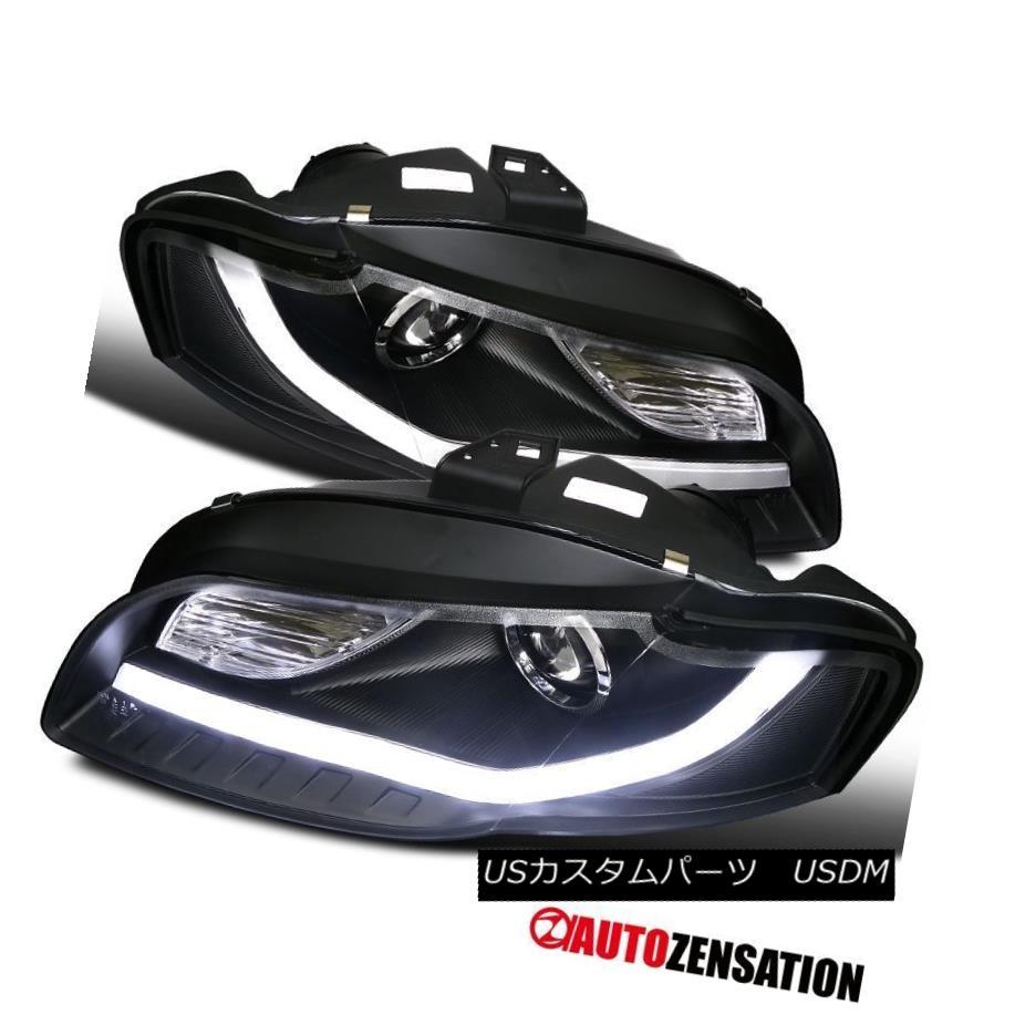 ヘッドライト For 06-08 Audi A4 Black Fiber Optic DRL Daytime Running LED Projector Headlights 06-08アウディA4ブラック光ファイバDRLデイタイムランニングLEDプロジェクターヘッドライト