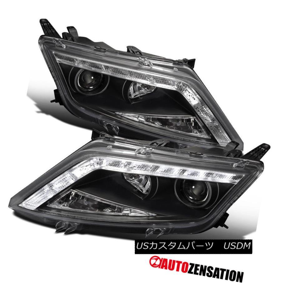ヘッドライト Ford 10-12 Fusion Crystal Black R8 LED DRL Strip Projector Headlights フォード10-12フュージョンクリスタルブラックR8 LED DRLストリッププロジェクターヘッドライト