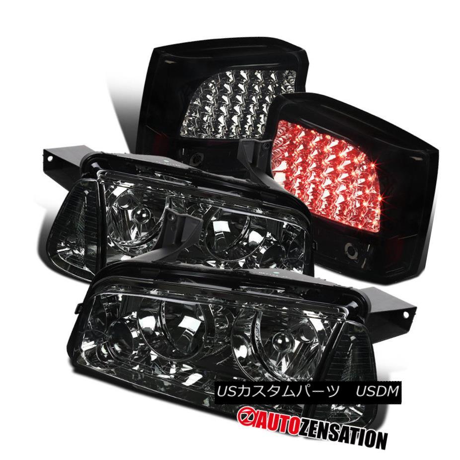 ヘッドライト 06-08 Dodge Charger Smoke Headlights+Glossy Black LED Tail Brake Rear Lamps Pair 06-08ダッジチャージャースモークヘッドライト+グロー ssyブラックLEDテールブレーキリアランプペア