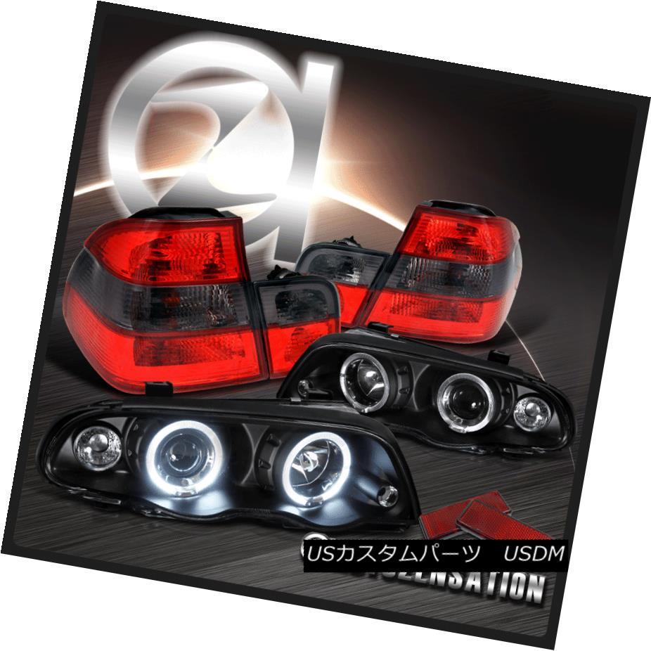 ヘッドライト 99-01 BMW E46 323i 325i 4Dr Black Halo Projector Headlights+Red Smoke Tail Lamps 99-01 BMW E46 323i 325i 4Drブラックハロープロジェクターヘッドライト+レッド煙テールランプ