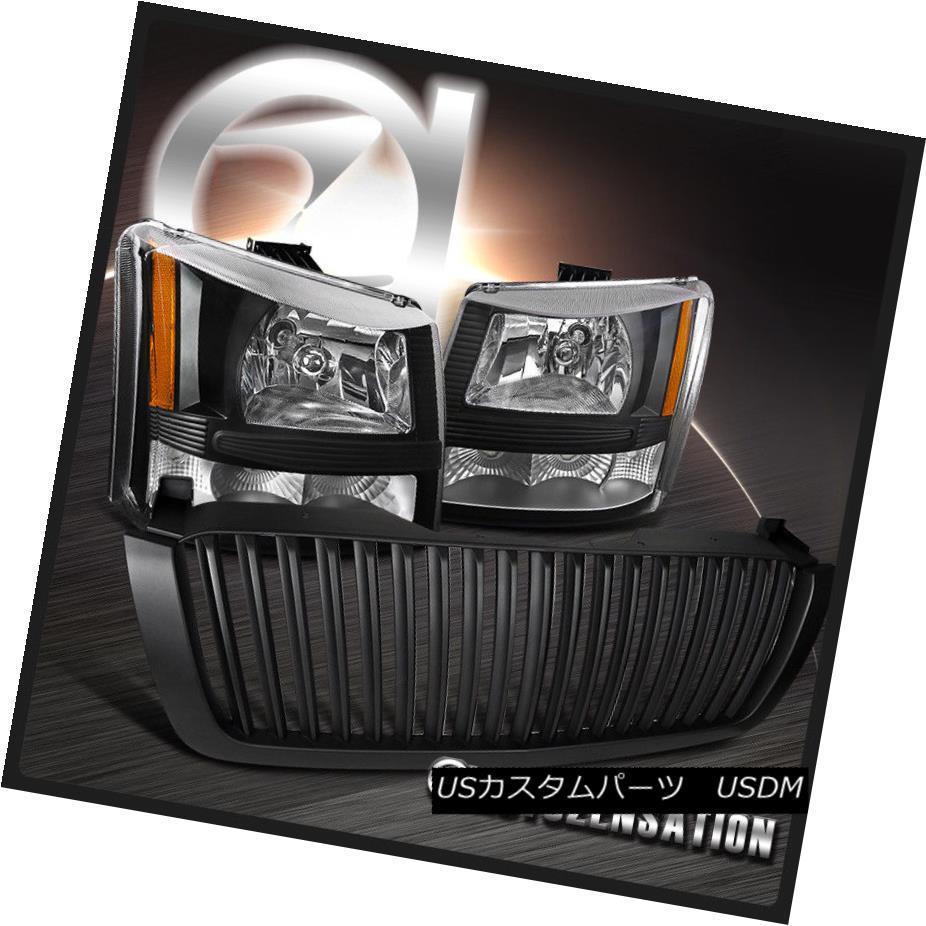 ヘッドライト 03-05 Silverado Avalanche 1PC Black Headlights Bumper Lamps+Vertical Hood Grille 03-05 Silverado Avalanche 1PCブラックヘッドライトバンパーランプ+垂直フードグリル