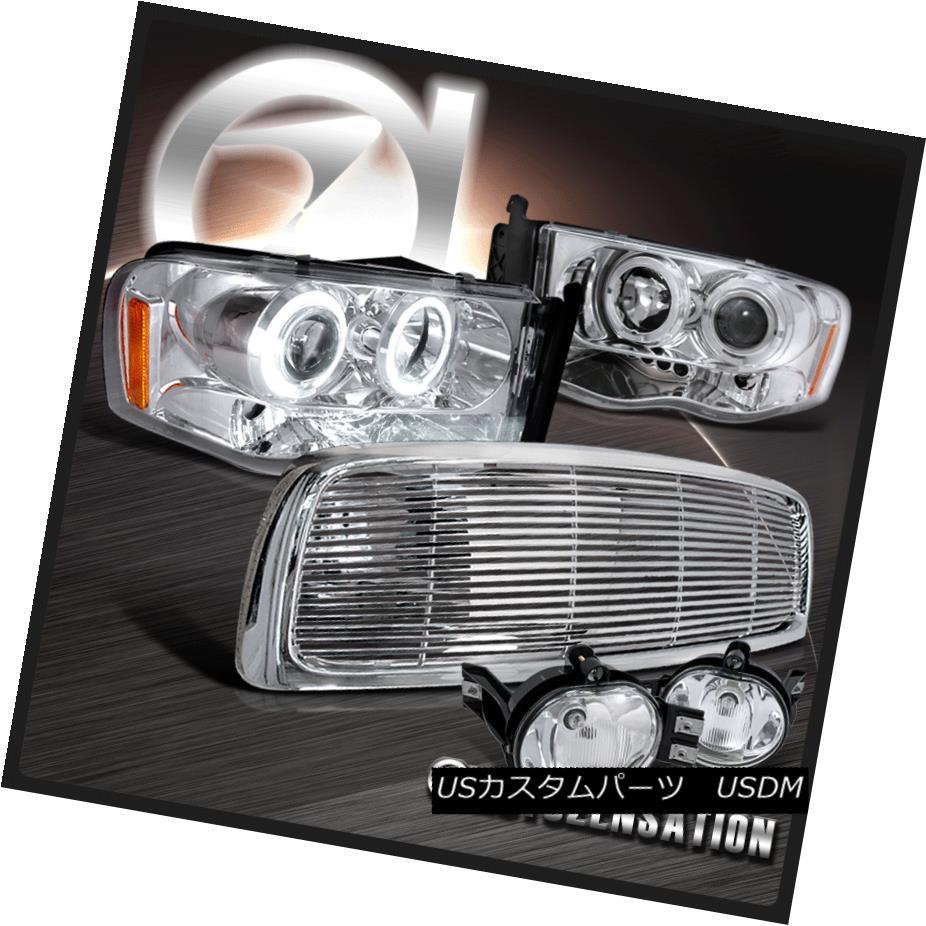 ヘッドライト 02-05 Ram 1500 2500 3500 Chrome LED Projector Headlights+Clear Fog Lamp w/Grille 02-05 Ram 1500 2500 3500クロームLEDプロジェクターヘッドライト+ Cle  arグリル付きフォグランプ