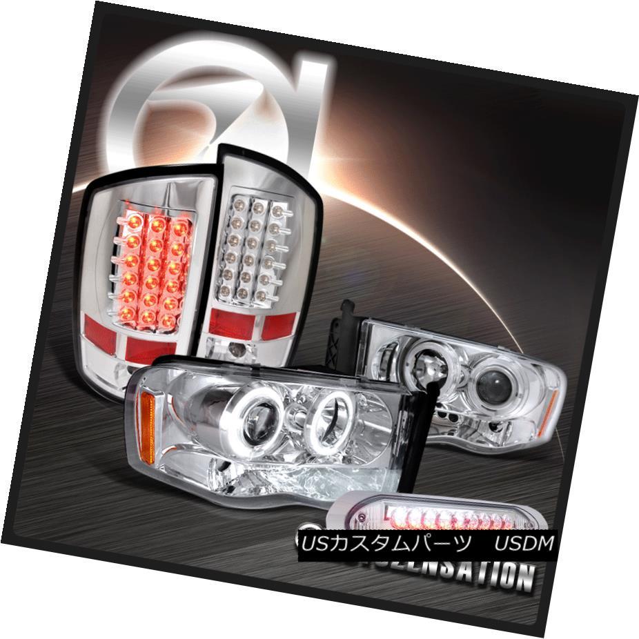 ヘッドライト 02-05 Ram 1500 Chrome Halo Projector Headlights+LED Tail Lamps+3RD Brake Light 02-05ラム1500クロームハロープロジェクターヘッドライト+ LEDテールランプ+ 3RDブレーキライト