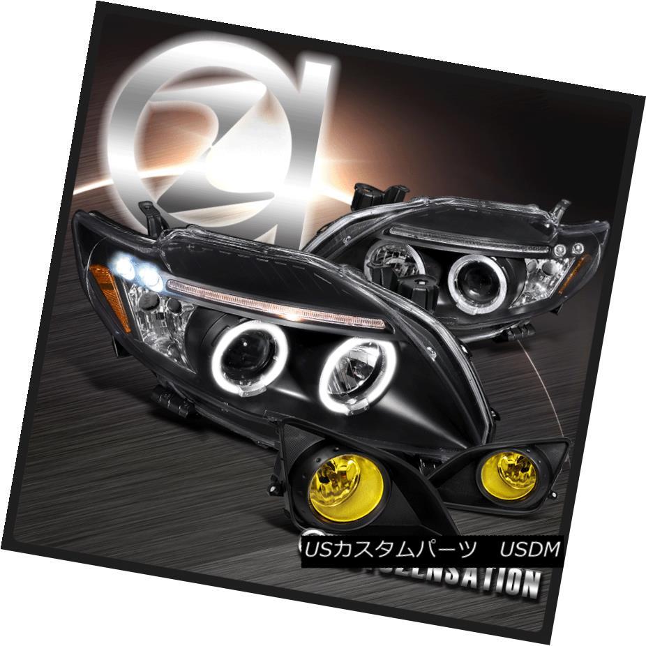 ヘッドライト 09-10 Toyota Corolla Black Halo LED Projector Headlights+Yellow Fog Bumper Lamp 09-10トヨタカローラブラックハローLEDプロジェクターヘッドライト+イエロー 低霧バンパーランプ