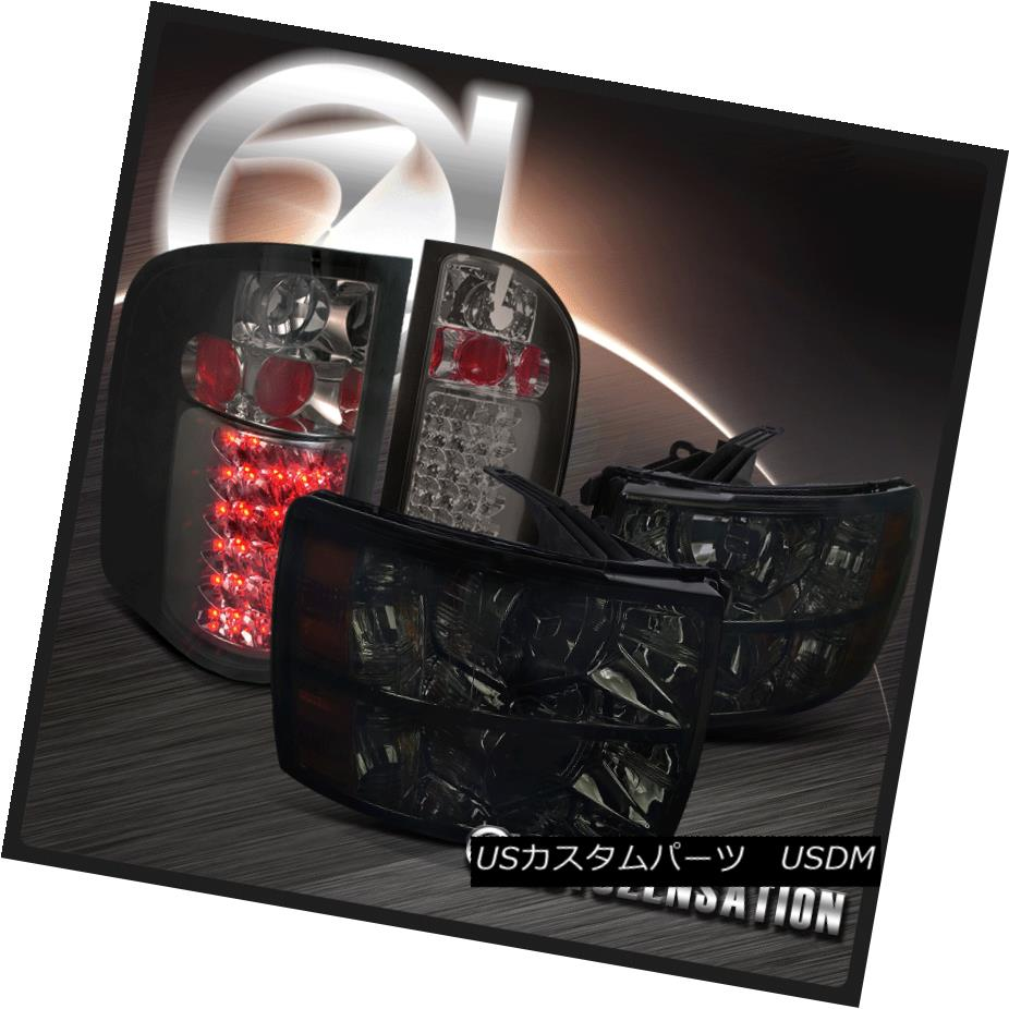 ヘッドライト 07-14 Chevy Silverado 1500/2500/3500 Pick Up Smoke Headlights+LED Tail Lamps 07-14 Chevy Silverado 1500/2500/3500ピックアップスモークヘッドライト+ LEDテールランプ