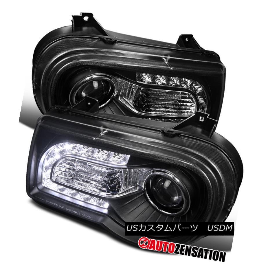 ヘッドライト 05-10 Chrysler 300C Black LED DRL Projector Headlights 05-10クライスラー300CブラックLED DRLプロジェクターヘッドライト