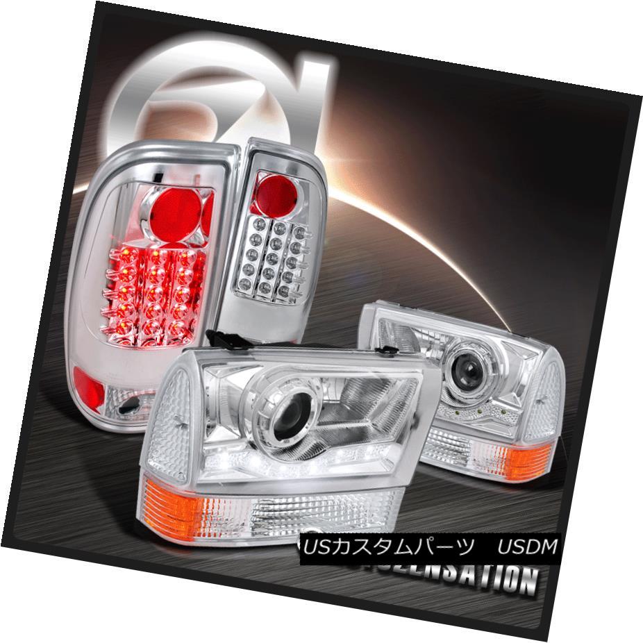 ヘッドライト 99-04 F250 F350 Chrome Projector SMD DRL Headlights+Corner Lamp+LED Tail Lights 99-04 F250 F350クロムプロジェクターSMD DRLヘッドライト+ Cor  nerランプ+ LEDテールライト