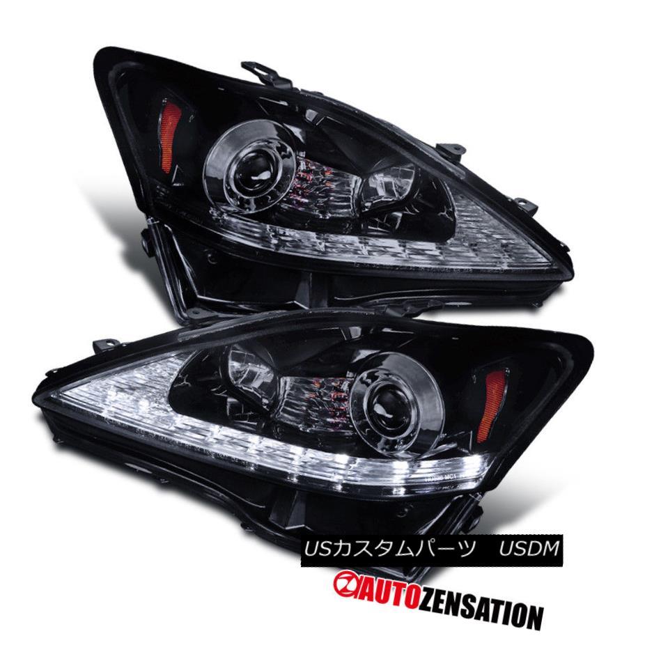 ヘッドライト 06-09 Lexus IS250 IS350 Glossy Black SMD LED DRL+Signal Projector Headlights 06-09 Lexus IS250 IS350光沢ブラックSMD LED DRL +信号プロジェクターヘッドライト