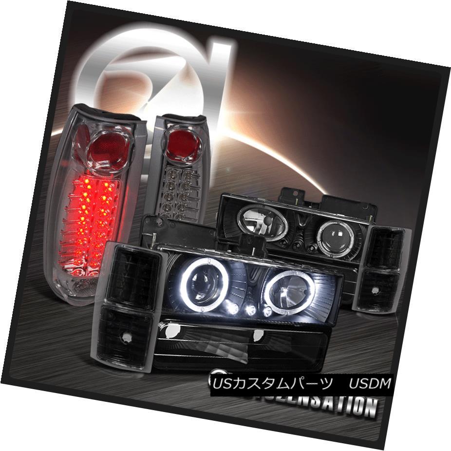 ヘッドライト 94-98 Chevy Silverado Black Dual Halo Projector Headlights+Smoke LED Tail Lamps 94-98シボレーシルバラードブラックデュアルハロープロジェクターヘッドライト+スモーキー ke LEDテールランプ