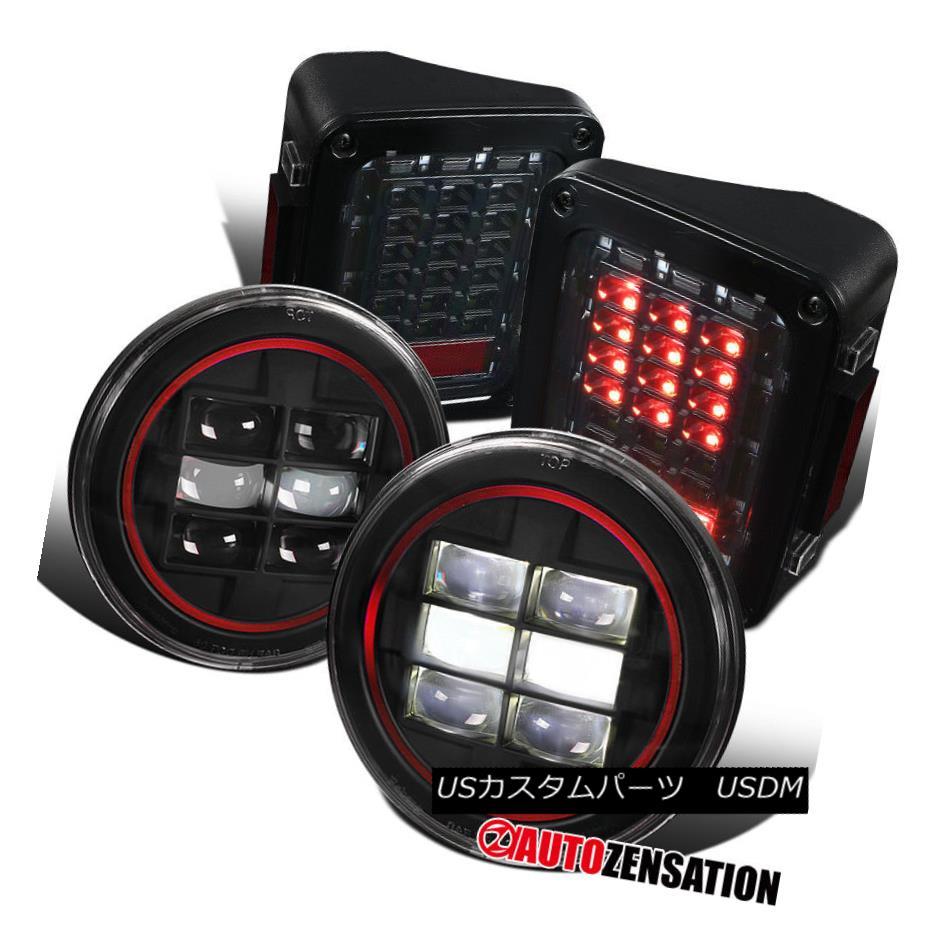 ヘッドライト 07-17 Wrangler Red Rim Cree LED 7
