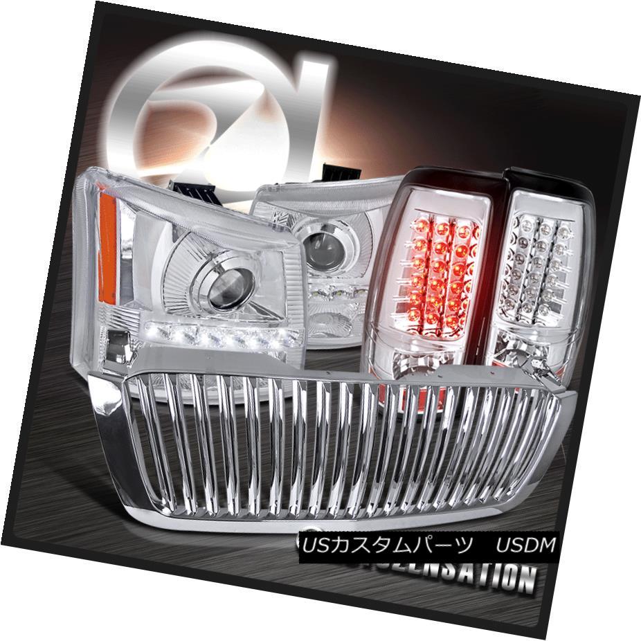 ヘッドライト 03-05 Silverado Chrome Projector SMD LED DRL Headlight+Bumper+Tail Lamps+Grille 03-05 Silverado ChromeプロジェクターSMD LED DRLヘッドライト+バンプ er +テールランプ+グリル
