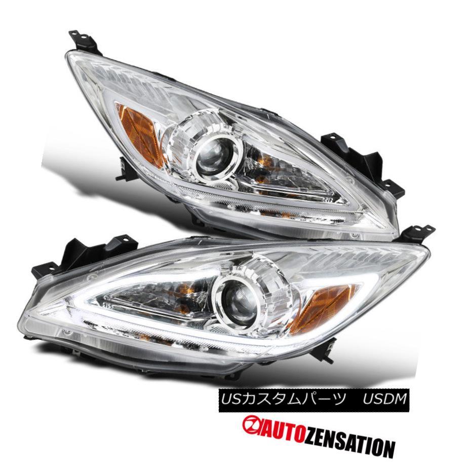 ヘッドライト 2010-2013 Mazda 3 Chrome Clear Projector Headlights+LED DRL Light Bar 2010-2013 Mazda 3 Chromeクリアプロジェクターヘッドライト+ LED DRLライトバー