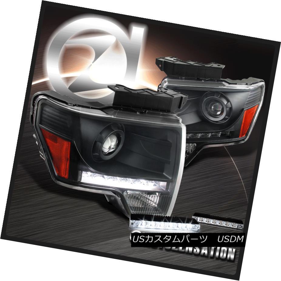 ヘッドライト 09-14 Ford F-150 Black LED DRL Strip Projector Headlight+6-LED Bumper Fog Lamp 09-14フォードF-150ブラックLED DRLストリッププロジェクターヘッドライト+ 6-LE Dバンパーフォグランプ