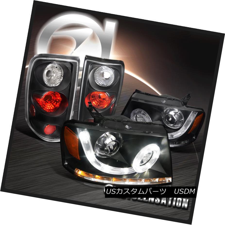ヘッドライト 04-08 Ford F150 Black Halo LED DRL Signal Projector Headlights+Rear Tail Lamps 04-08 Ford F150 Black Halo LED DRL信号プロジェクターヘッドライト+リア rテールランプ