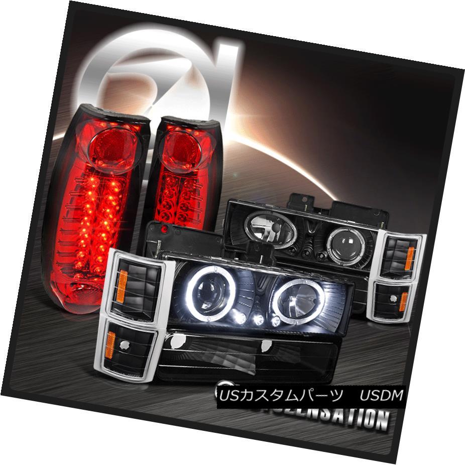 ヘッドライト 94-98 Chevy C10 C/K Tahoe Black Halo Projector Headlights+Red LED Tail Lamps 94-98シボレーC10 C / Kタホブラックハロープロジェクターヘッドライト+レッドLEDテールランプ
