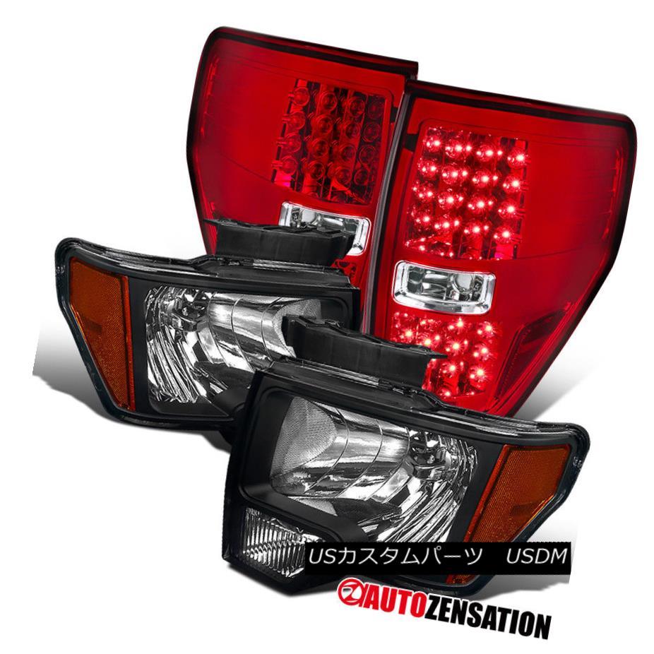 ヘッドライト Ford 09-14 F150 Truck Black Headlights+Clear/Red LED Tail Lamps Replacement Pair フォード09-14 F150トラックブラックヘッドライト+ Cle  ar / Red LEDテールランプ交換ペア
