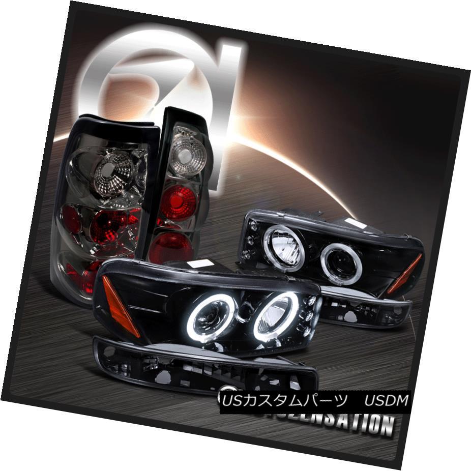 ヘッドライト 99-03 Sierra Glossy Black Halo Projector Headlights+Smoke Bumper Lamps+Tail Lamp 99-03シエラグロッシーブラックハロープロジェクターヘッドライト+スモール keバンパーランプ+テールランプ
