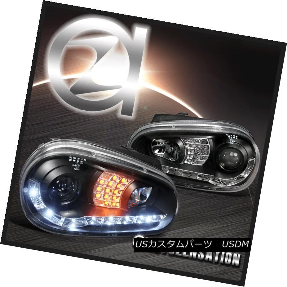 ヘッドライト For 99-06 VW Golf MK4 R8 DRL Projector Headlights+ Amber LED Turn Signal 99-06 VWゴルフMK4 R8 DRLプロジェクターヘッドライト+琥珀色LEDターンシグナル