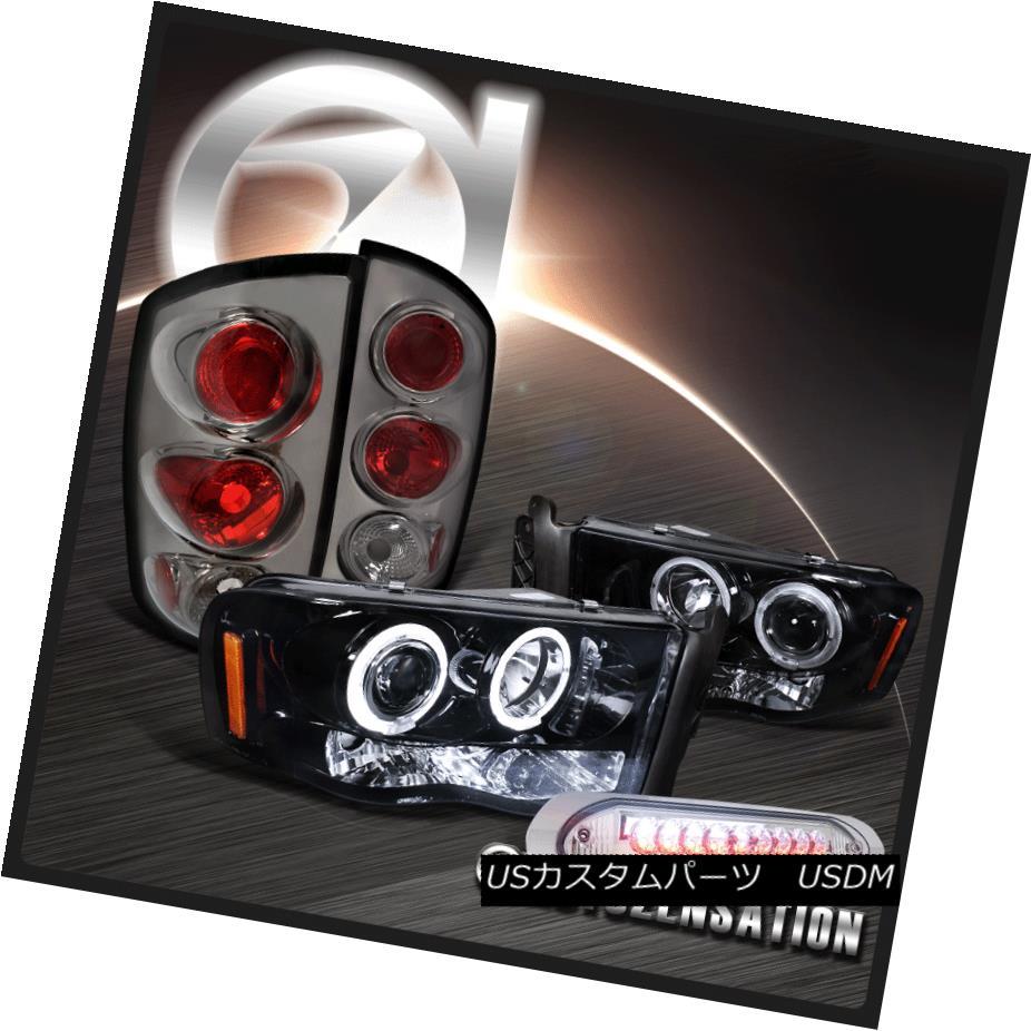 ヘッドライト 03-05 Ram Piano Black Halo Projector Headlight+Tint Tail Lamp+LED 3RD Brake Lamp 03-05ラム・ピアノブラック・ハロー・プロジェクター・ヘッドライト+ティントテールランプ+ LED 3RDブレーキランプ