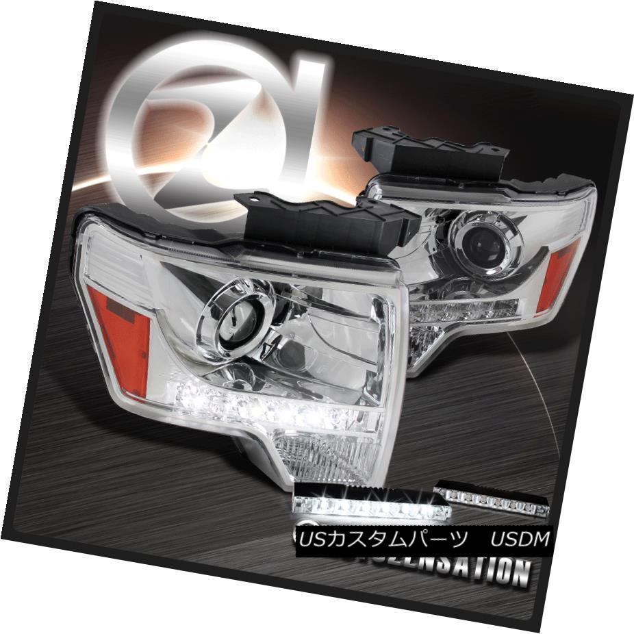 ヘッドライト 09-14 Ford F-150 Chrome LED DRL Strip Projector Headlight+6-LED Bumper Fog Lamp 09-14フォードF-150クロームLED DRLストリッププロジェクターヘッドライト+ 6-LE Dバンパーフォグランプ