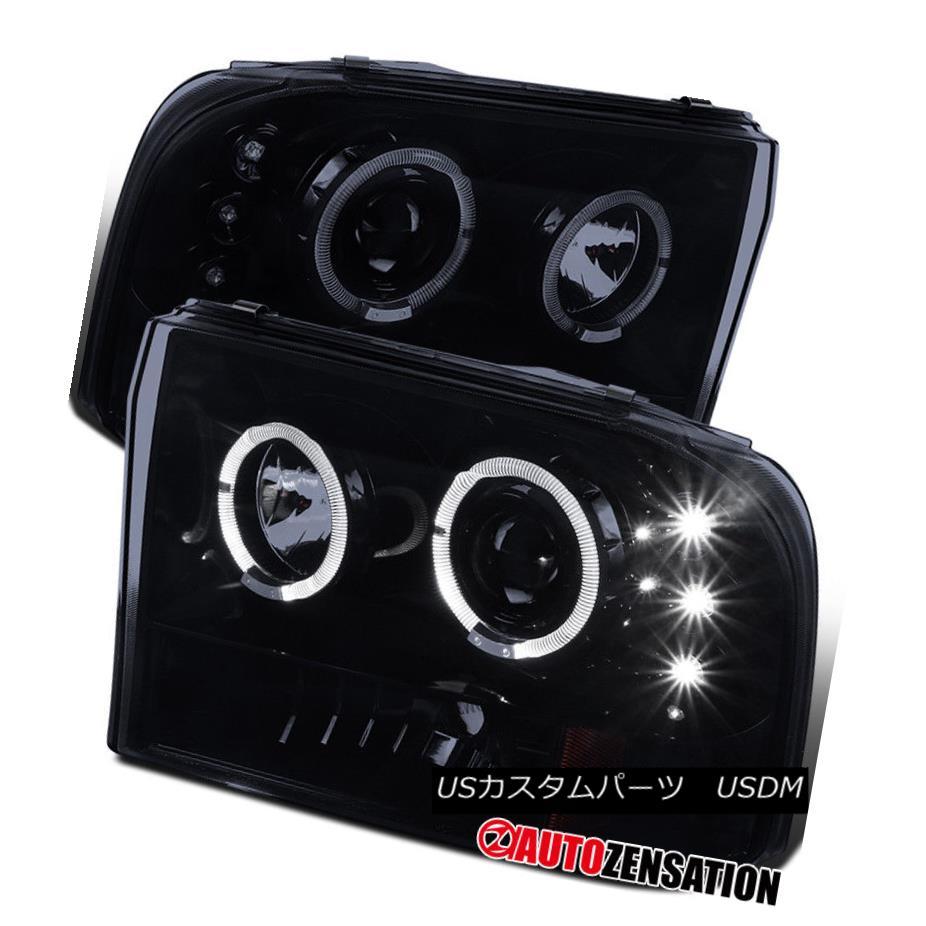 ヘッドライト 99-04 Ford F250 F350 F450 F550 [Glossy Black] LED Halo Projector Headlights 99-04 Ford F250 F350 F450 F550 [光沢のある黒] LEDハロープロジェクターヘッドライト
