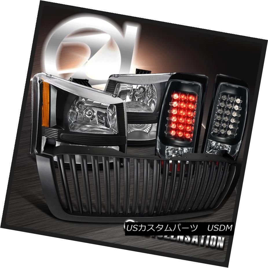 ヘッドライト 03-05 Silverado HD Black Headlights Bumper Lamps+LED Tail Lights+Hood Grille 03-05 Silverado HDブラックヘッドライトバンパーランプ+ LEDテールライト+フードグリル