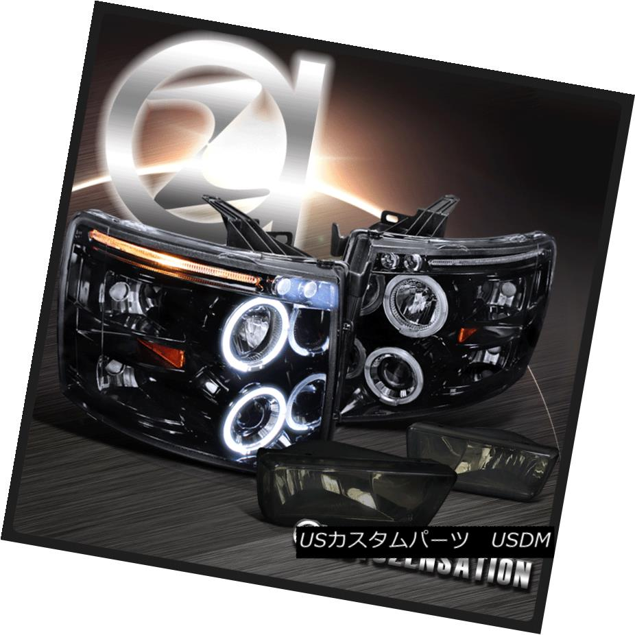 ヘッドライト 07-14 Silverado Glossy Black Halo Projector LED Headlights+Smoke Bumper Fog Lamp 07-14 Silverado Glossy Black HaloプロジェクターLEDヘッドライト+ Smo  keバンパーフォグランプ